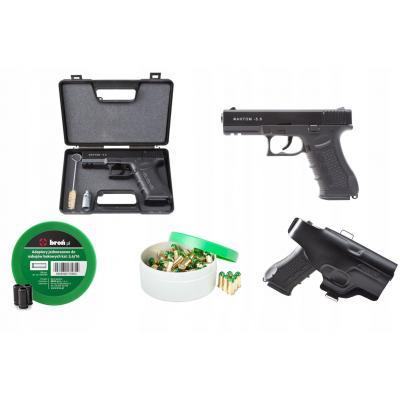 Zestaw pistolet hukowy phantom 5.6 (917bp) czarny + amunicja adaptery kabura