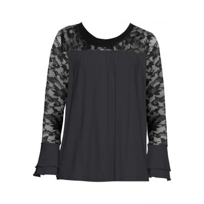 Shirt z koronką bonprix czarny