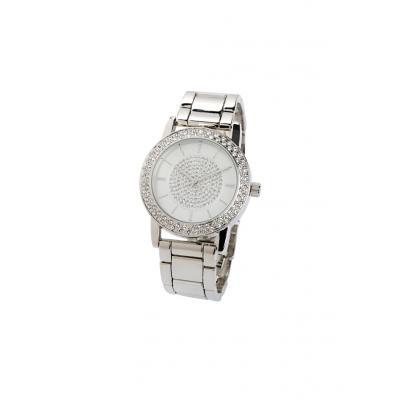 Zegarek na metalowej bransoletce, zdobiony kryształami swarovskiego® bonprix srebrny kolor