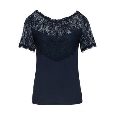Shirt z koronką bonprix ciemnoniebieski