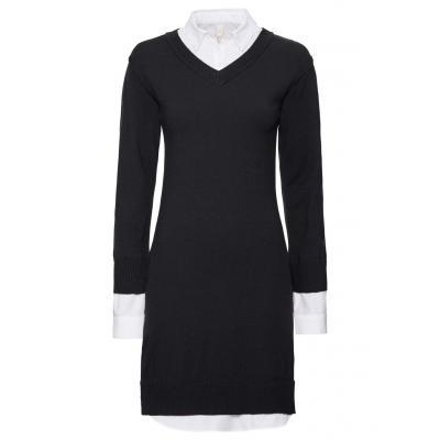 Sukienka dzianinowa bonprix czarno-biały