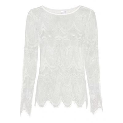Shirt z koronką bonprix biel wełny