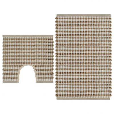 Emaga vidaxl zestaw ręcznie tkanych mat łazienkowych, juta, naturalny i biel