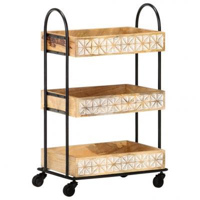 Emaga vidaxl 3-poziomowy wózek kuchenny, 46x30x76 cm, lite drewno mango