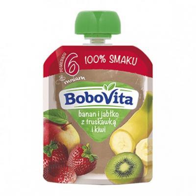 BoboVita, banan, jabłko z truskawką i kiwi, po 6. miesiącu, 80 g
