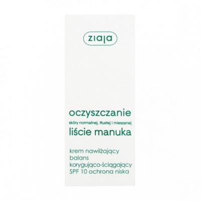 Ziaja Liście Manuka-Oczyszczanie, krem nawilżający, korygująco-ściągający, SPF 10, 50 ml