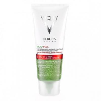 Vichy Dercos Micro Peel, szampon peelingujący na ciężki, tłusty łupież, 200 ml