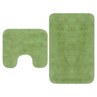 Emaga vidaxl 2-częściowy zestaw mat łazienkowych, tkanina, zielony