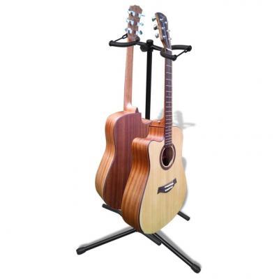 Emaga stojak pod gitarę, regulowany, podwójny
