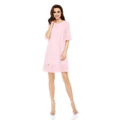 Wizytowa sukienka z ozdobnym plisowaniem - pudrowa