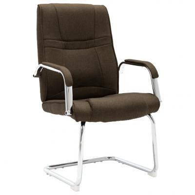 Emaga vidaxl krzesło biurowe, wspornikowe, brązowe, tkanina
