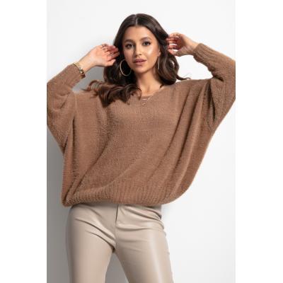 Milutki sweter oversize - karmelowy