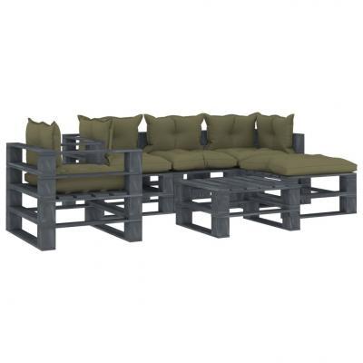 Emaga vidaxl 6-częściowy zestaw mebli ogrodowych z palet, beżowe poduszki