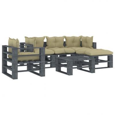 Emaga vidaxl 6-częściowy zestaw mebli ogrodowych z palet, kremowe poduszki