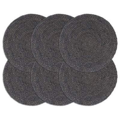 Emaga vidaxl maty na stół, 6 szt., gładkie, szare, 38 cm, okrągłe, juta