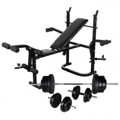 Emaga vidaxl ławka do ćwiczeń ze stojakiem, sztangą i hantlami, 60,5 kg