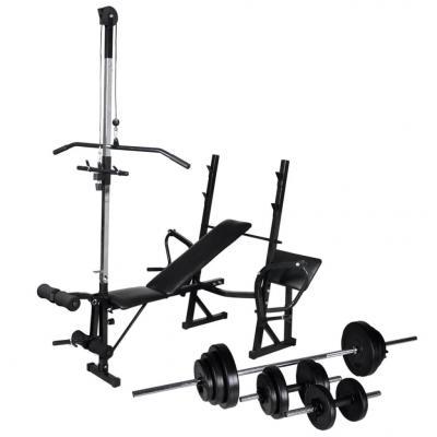 Emaga vidaxl ławka do ćwiczeń ze stojakiem, sztangą i hantlami, 30,5 kg
