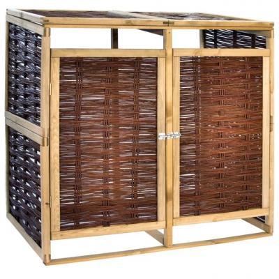 Emaga vidaxl podwójna osłona na kosz na śmieci, drewno sosnowe i wiklina