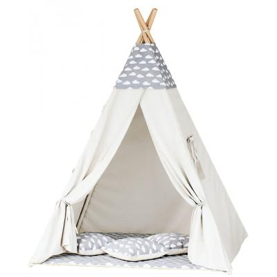 Namiot tipi dla dzieci, bawełna, szary, chmurki