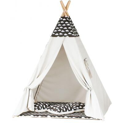 Namiot tipi dla dzieci, bawełna, czarny, chmurki