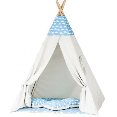 Namiot tipi dla dzieci, bawełna, niebieski, chmurki