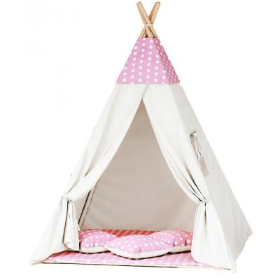 Namiot tipi dla dzieci, bawełna, różowy, grochy