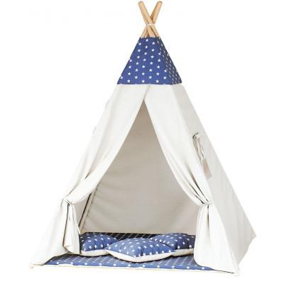 Namiot tipi dla dzieci, bawełna, granatowy, gwiazdki