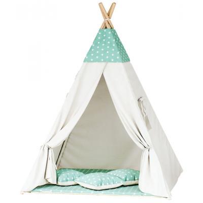 Namiot tipi dla dzieci, bawełna, miętowy, gwiazdki