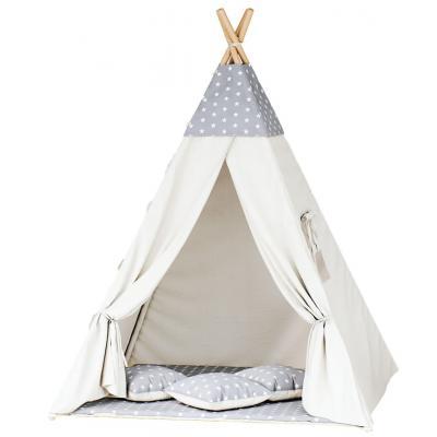 Namiot tipi dla dzieci, bawełna, szary, gwiazdki