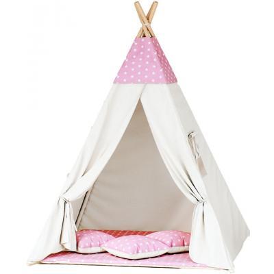 Namiot tipi dla dzieci, bawełna, różowy, gwiazdki