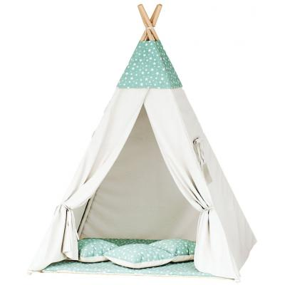 Namiot tipi dla dzieci, bawełna, miętowy, gwiazdozbiór