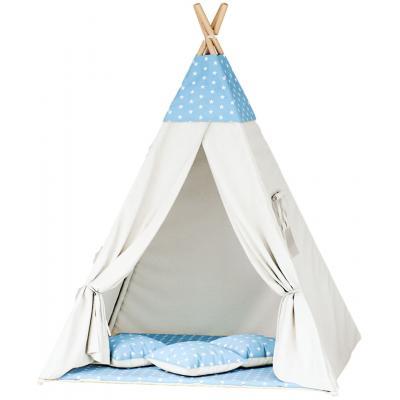 Namiot tipi dla dzieci, bawełna, niebieski, gwiazdki