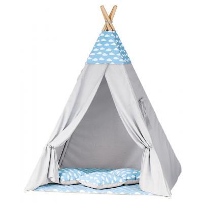 Namiot tipi dla dzieci, niebieski, chmurki