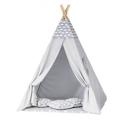 Namiot tipi dla dzieci, szary, chmurki