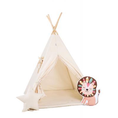 Namiot tipi dla dzieci, bawełna, okienko, lew, kremowy obłoczek