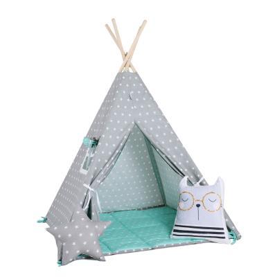 Namiot tipi dla dzieci, bawełna, okienko, kotek, miętowy pyłek