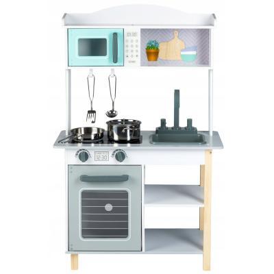 Drewniana kuchenka dla dziecka, akcesoria do gotowania w zestawie