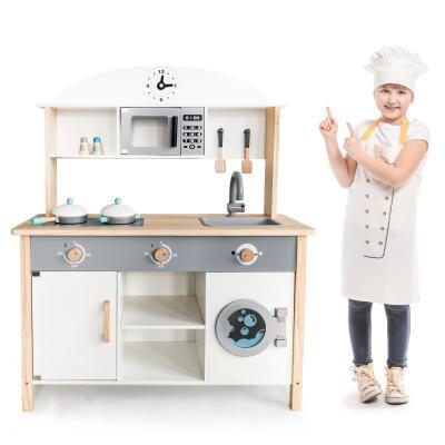 Duża drewniana kuchnia z pralką, dla dzieci, zestaw XXL, przybory do gotowania w zestawie