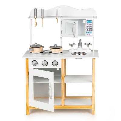 Drewniana kuchnia dla dzieci, akcesoria kuchenne w zestawie