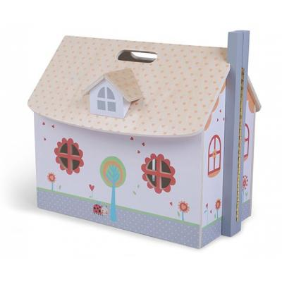 Drewniany otwierany domek dla lalek, mebelki w zestawie