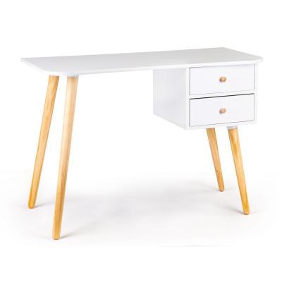 Biurko, stolik do pokoju, dwie szuflady, białe, 100 cm