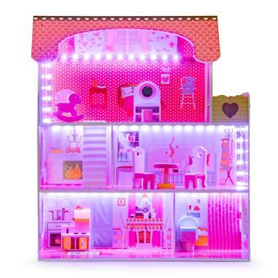 Drewniany domek dla lalek z oświetleniem LED , zestaw mebelków w zestawie
