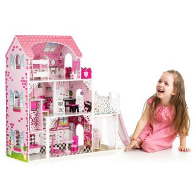 Drewniany domek dla lalek z windą, zjeżdżalnią, mebelki w zestawie