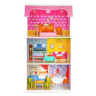 Wysoki drewniany domek dla lalek, drewniane mebelki w zestawie