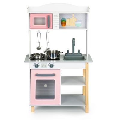Drewniana kuchnia dla dzieci, metalowe akcesoria