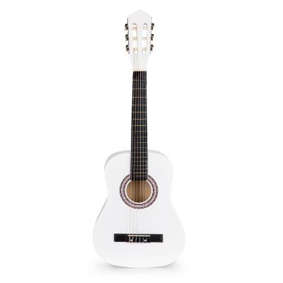 Gitara dla dzieci, duża, drewniana, 6 strun, biała