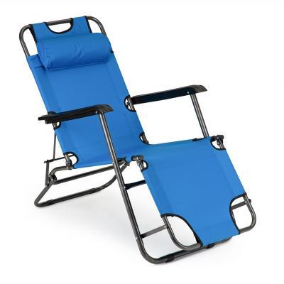 Leżak ogrodowy, plażowy, fotel, niebieski