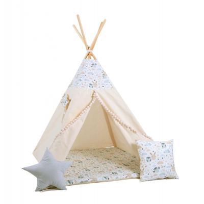 Namiot tipi dla dzieci, bawełna, okienko, poduszka, pastelowi przyjaciele