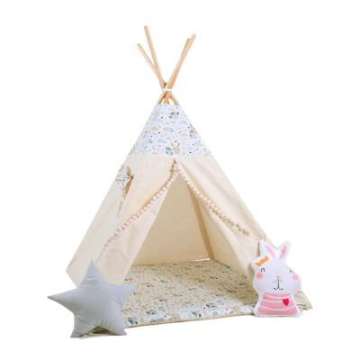 Namiot tipi dla dzieci, bawełna, okienko, królik, pastelowi przyjaciele