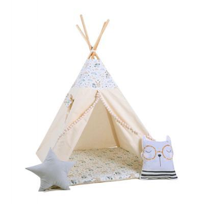 Namiot tipi dla dzieci, bawełna, okienko, kotek, pastelowi przyjaciele